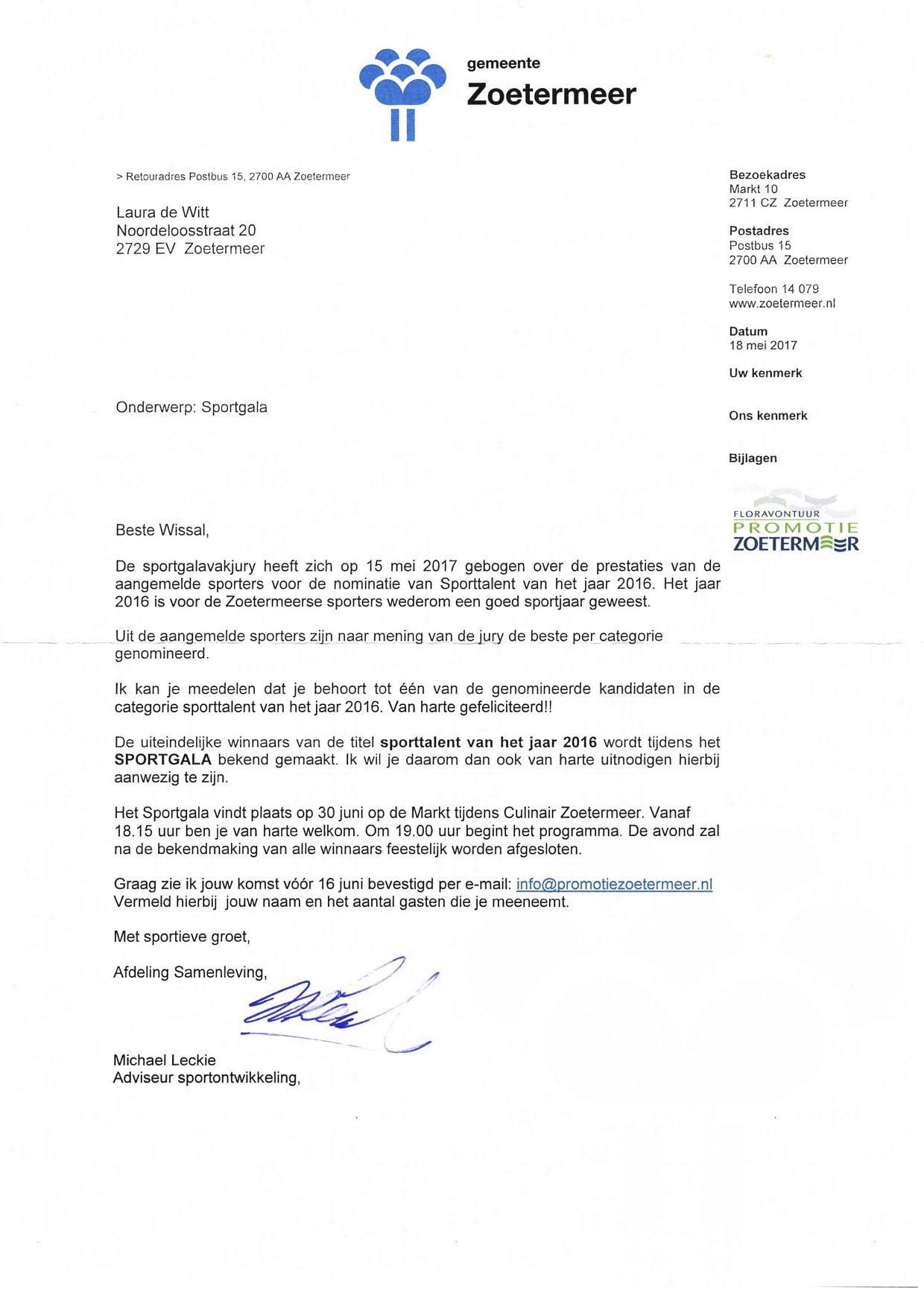 Kandidaat Sporttalent Zoetermeer 2016